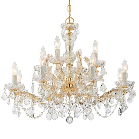 Maria Theresa 12 Light Clear Italian Crystal Chandelier - 29'' W x 25.5'' H