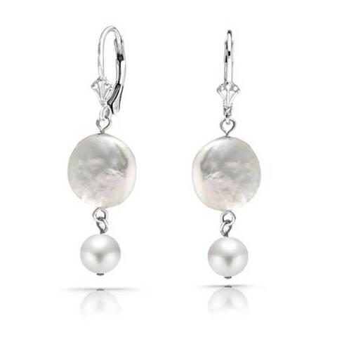 Coin Biwa Cultured Pearl Leverback Dangle Earrings Sterling Silver