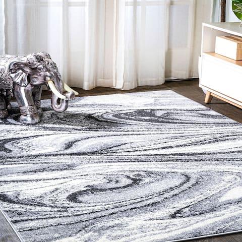 JONATHAN Y Viscon Abstract Marble Contemporary Light Gray/Black Area Rug