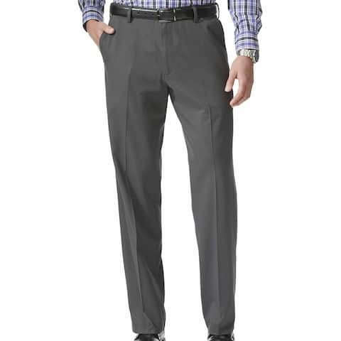 Dockers Mens Khaki Pants Gray Size 38x34 Relaxed-Fit Flat Front Stretch