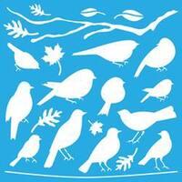 "Feathered Friends - Americana Decor Stencil 12""X12"""