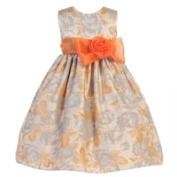 Crayon Kids Girls Orange Flocked Flower Adorned Easter Dress 8-10