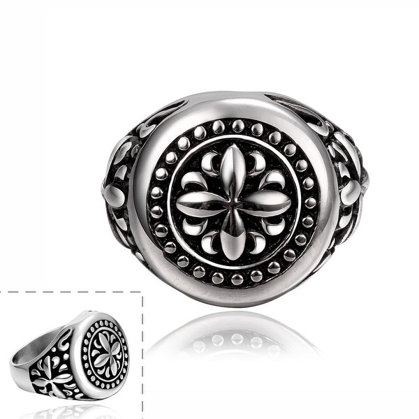 Rose Petal Emblem Stainless Steel Ring