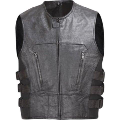 Men Leather Motorcycle Biker Vest Bullet Proof Style Black V107