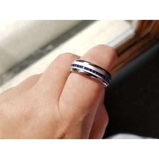 Oliveti Men's Titanium Ring Eternity Wedding Band with Blue Princess-cut Cubic Zirconia 8mm