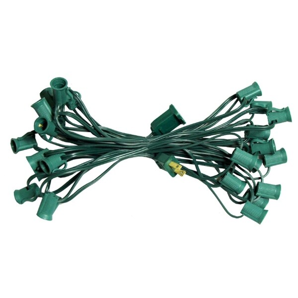 "50' Commercial C9 Christmas Light Socket Set - 12"" Spacing 18 Gauge Green Wire"