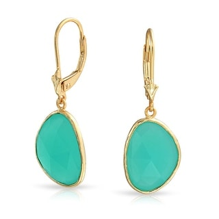 Bling Jewelry Blue Simulated Chalcedony Drop Earrings 925 Silver