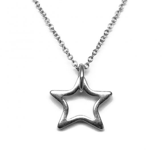 Stainless Steel Silver Open Star Necklace by Loralyn Designs