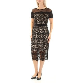 Womens Black Short Sleeve Below The Knee Sheath Casual Dress Size: 6
