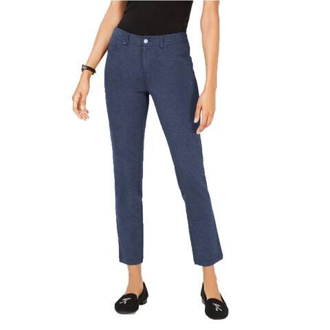 "Charter Club Women's Windham Ponte Stretch Pants Medium Blue Combo Size 14"""