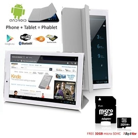 "Indigi® 7"" 3G Factory Unlocked 2-in-1 Android 4.4 SmartPhone & TabletPC w/ Built-in Smart Cover + 32gb microSD(Grey)"