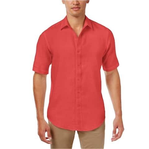 Club Room Mens Garment Dyed Button Up Shirt