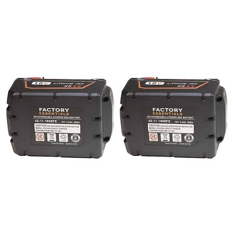 Factory Essentials M18 5.0Ah Battery for Milwaukee 48-11-1850 18V Li-Ion - 2 Pack