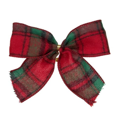 """Pack of 6 Red and Green Plaid 2 Loop Christmas Bow Decorations 5"""""""