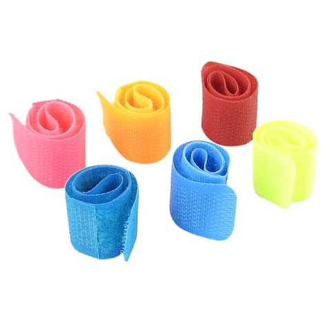 6 Pcs Assorted Color 17cm x 2cm Hook Loop Tape