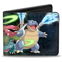 Charizard Venusaur Blastoise Group Action Pose Bi Fold Wallet - One Size Fits most