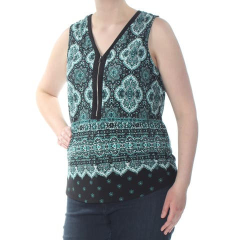 INC Womens Green Printed Zip Front Sleeveless V Neck Tank Wear To Work Top Petites Size: XL