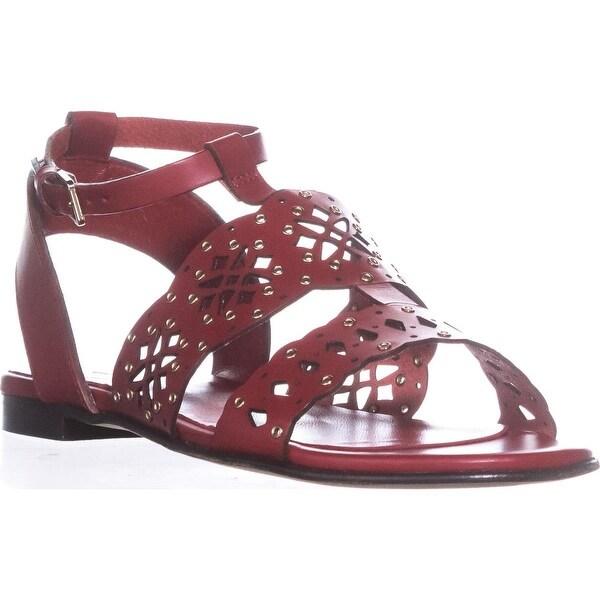 Frula Aurora T-Strap Flat Sandals, Peperoncino - 7.5 us / 37.5 eu