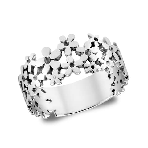 Handmade Mini Daisies Sweet Floral Sterling Silver Ring (Thailand)