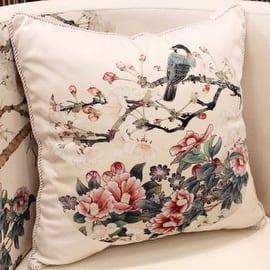 Luxury White Bird Round Printing Pillow 18 X18