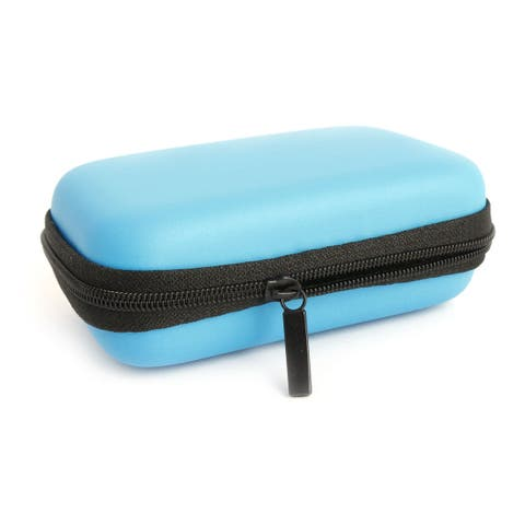Earphone Mobile Charging Cable Rectangle Carrying Case Pouch Bag Box Blue