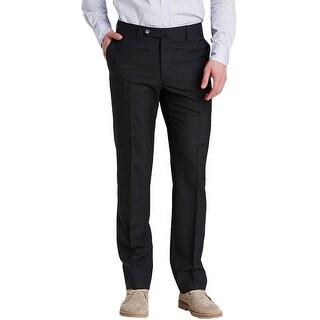 Man 1924 By Carlos Castillo Regular Fit Flat Front Dress Pants Dark Gray 32 x 32