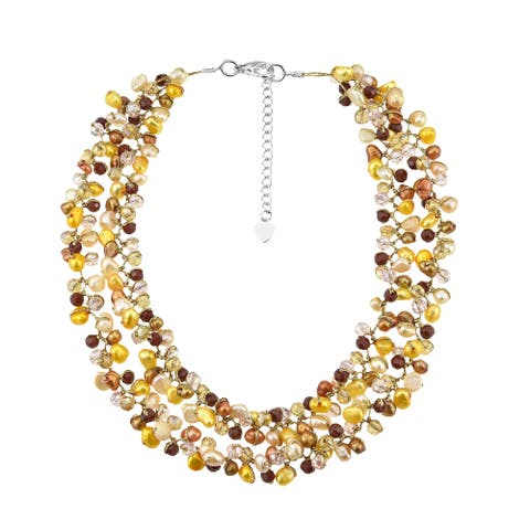 Handmade Captivating Fashion Pearls Crystals Silk Thread Bib Necklace (Thailand)