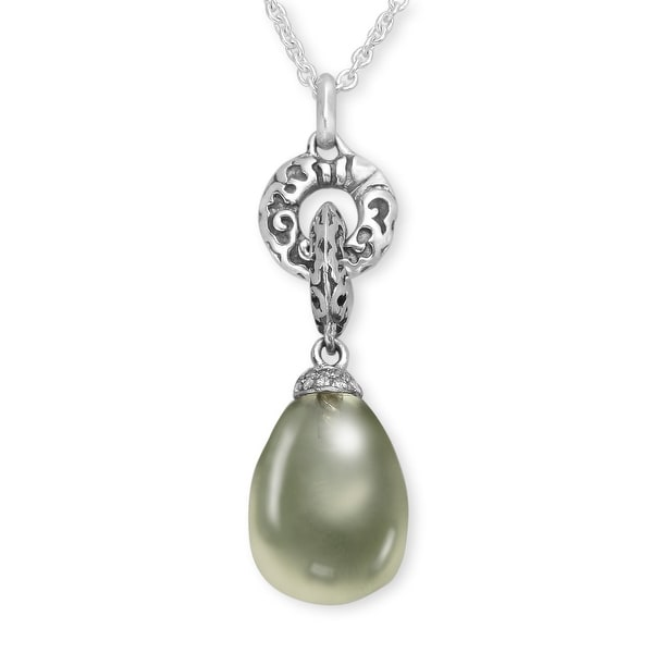 Evert DeGraeve 8 3/4 ct Green Amethyst Pendant with Diamonds in Sterling Silver