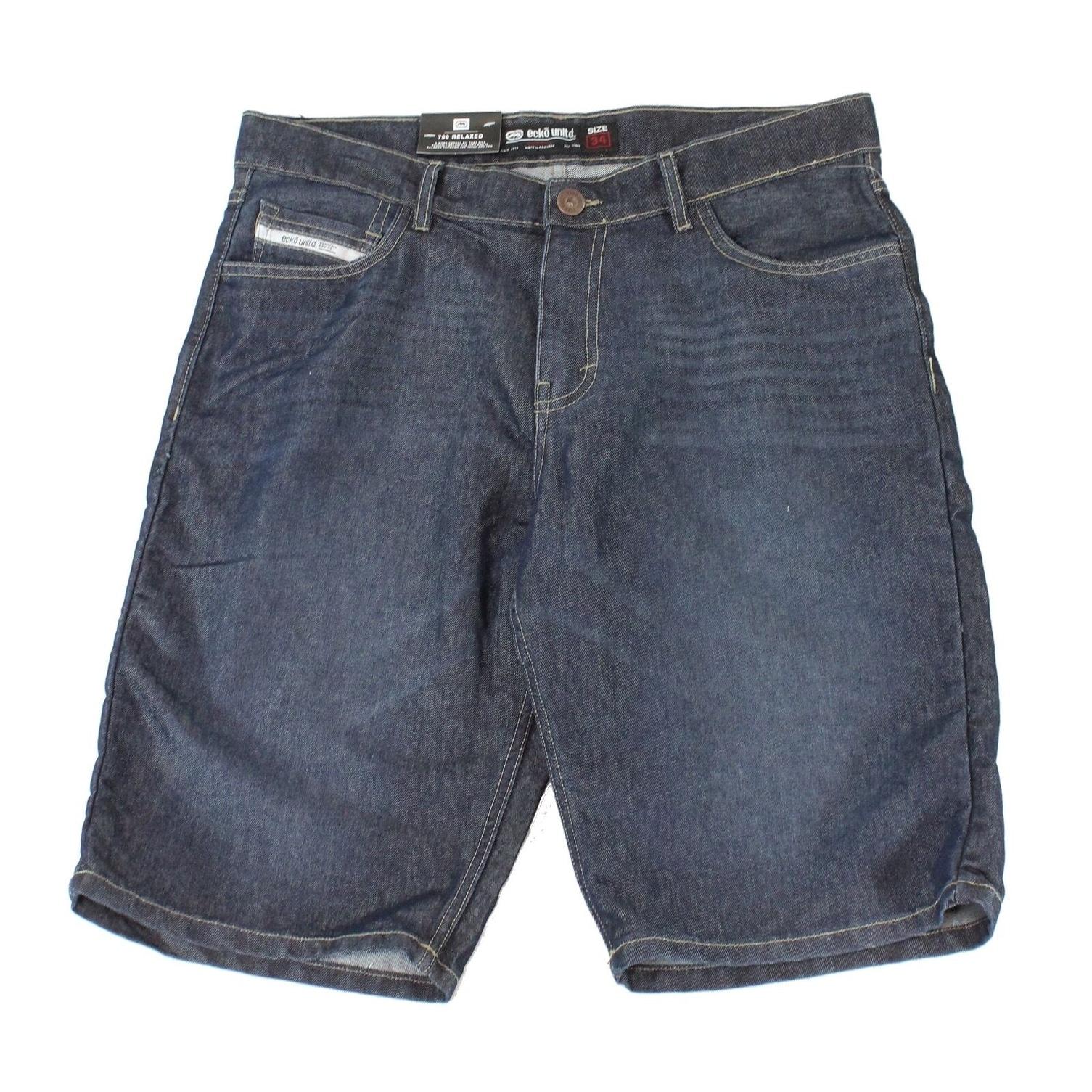 Ecko Unltd Mens Shorts Black Size 38 Denim 759 Relaxed Fit Seamed $58 #308