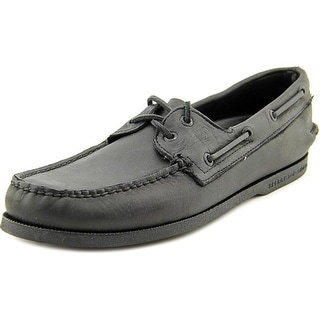 Sperry Top Sider A/O 2 Eye Men Moc Toe Leather Black Boat Shoe