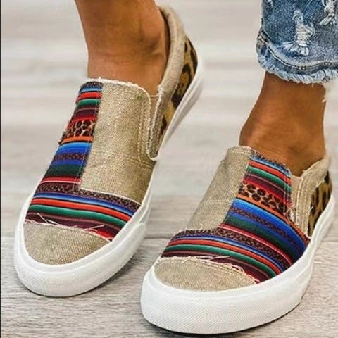 Canvas Shoes Color Matching Low-Cut Casual Single Shoes Women