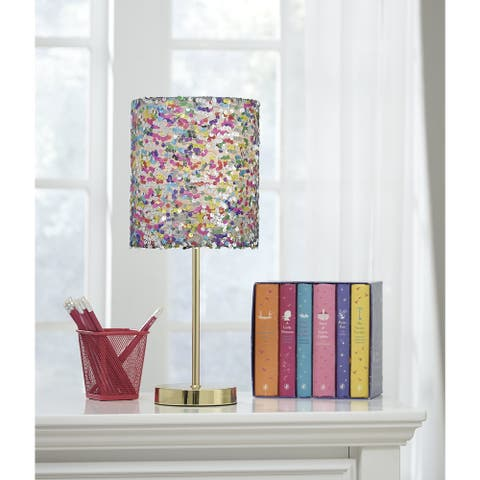 "Maddy Multicolored Sequin Kid's Table Lamp - 8"" W x 8"" D x 18.25"" H"
