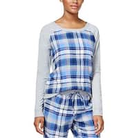 Jenni by Jennifer Moore Intimates Womens Navy Plaid Panel Pajama Top