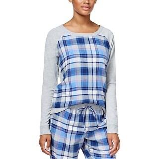 Jenni by Jennifer Moore Intimates Womens Navy Plaid Panel Pajama Top