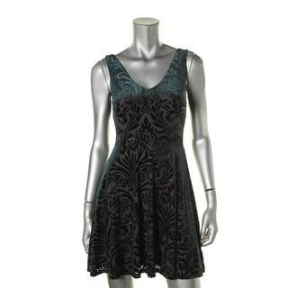 Aqua Womens Velvet Embossed Party Dress