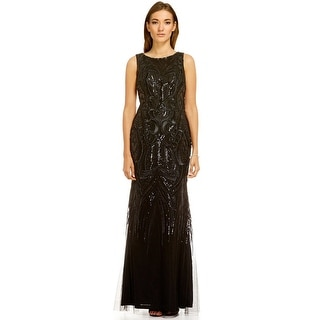 David Meister Sequin Embroided A-Line Evening Gown Dress - 8