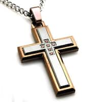 Stainless Steel Two Tone Layered Cubic Zirconia Cross Pendant - 24 inches