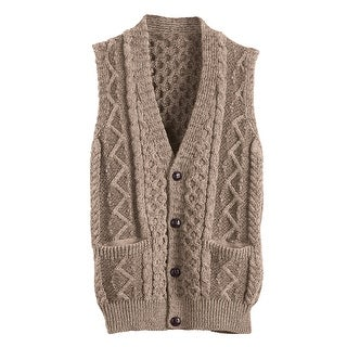 Men's Aran Waistcoat - Button Down Sweater Vest - Wicker Beige