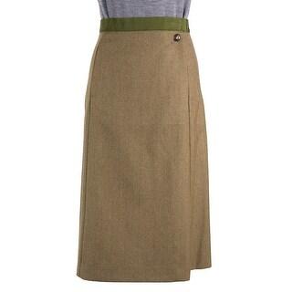 Maison Margiela Green Wool Military Button Knee Length Skirt