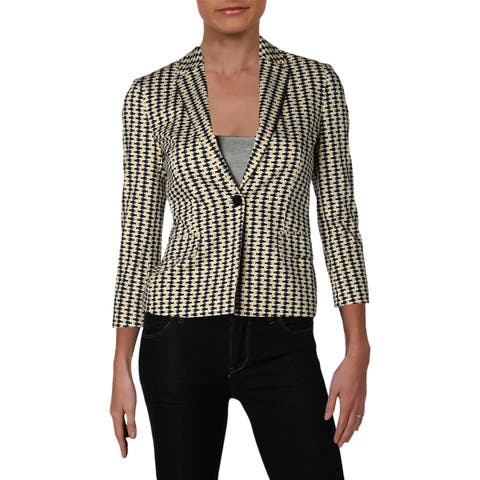 Hugo Boss Womens Jerella One-Button Blazer Printed Three-Quarter Sleeve - 0