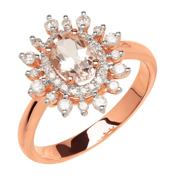 3/4 ct Natural Morganite & 3/8 ct Diamond Ring in 14K Rose Gold - Pink