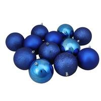 "12ct Lavish Blue Shatterproof 4-Finish Christmas Ball Ornaments 4"" (100mm)"