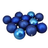 "12ct Lavish Blue Shatterproof 4-Finish Christmas Ball Ornaments 4"" (100mm)"