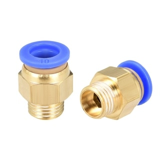 """10 Pcs 1/4"""" G Male Straight Thread 10mm Push In Joint Pneumatic Quick Fittings - 25/64"""" OD x 1/4"""" G"""
