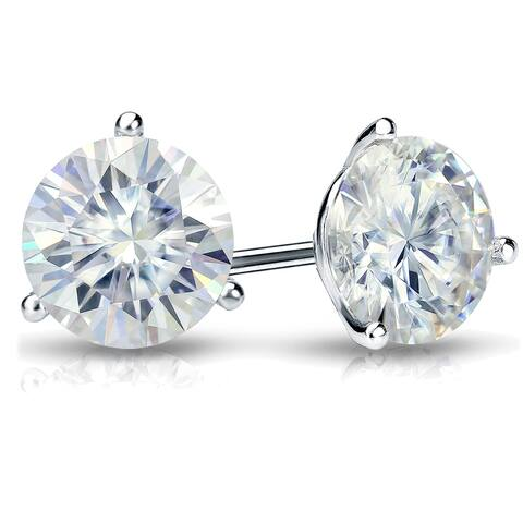 Auriya 2ctw Round Moissanite Stud Earrings 18k Gold Martini-set - 6.5 mm