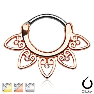 Tribal Fan with Clear Gems 316L Surgical Steel Septum Clicker (Sold Ind.)