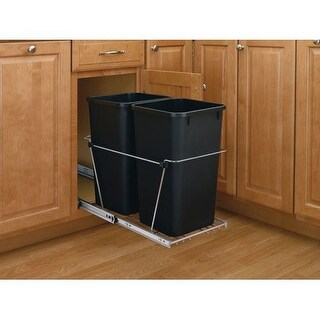 Rev-A-Shelf RV-15KD-18C S RV Series Bottom Mount Double Bin Trash Can with Full Extension Slides - 27 Quart Capacity per Bin