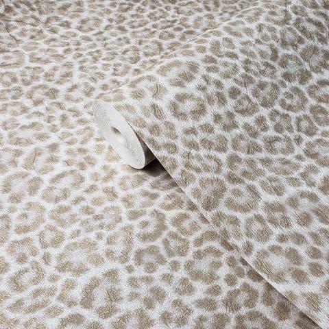 Wallpaper ivory off white gold leopard animal skin faux fur - 27 inc x 33 ft