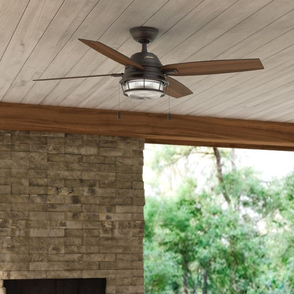 """Hunter 52"""" Ocala Outdoor Ceiling Fan with LED Light Kit and Pull Chain, Damp Rated. Opens flyout."""