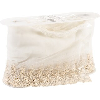 """Embroidered Mesh Border 6""""X14yd-"""